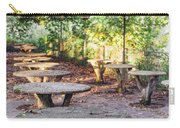 Empty Picnic Tables In The Early Fall With Fallen Leaves Carry-all Pouch