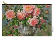 English Elegance Roses In A Silver Vase Carry-all Pouch by Albert Williams