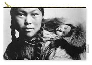Eskimo Woman And Child Carry-all Pouch