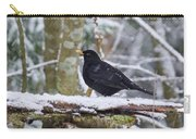 Eurasian Blackbird In The Snow Carry-all Pouch