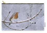 European Robin On Snowy Branch Carry-all Pouch