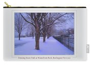 Evening Snow Path At Waterfront Park Burlington Vermont Poster Greeting Card Carry-all Pouch