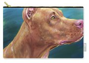 Expressive Painting Of A Red Nose Pit Bull On Blue Background Carry-all Pouch