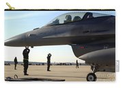 F-16 Fighting Falcons Parked Carry-all Pouch by Stocktrek Images