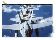 Fa-18c Hornet Aircraft Fly In Formation Carry-all Pouch
