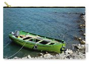 Faded Green Yellow Motor Power Boat Parked At Satpara Lake Pakistan Carry-all Pouch