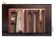 Faith - Antique Letterpress Letters Carry-all Pouch