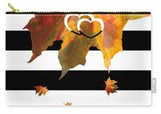 Fall Leaf Love Typography On Black And White Stripes Carry-all Pouch