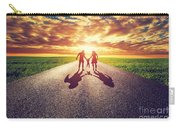Family Walk On Long Straight Road Towards Sunset Sun Carry-all Pouch