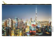 Fantastic Nighttime Skyline Of A Big Modern City. Downtown Dubai, United Arab Emirates. Carry-all Pouch