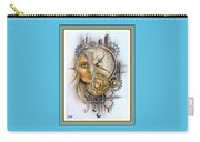 Fantasy Art - Time Encaptulata For A Woman's Face, Clock, Gears And More. L A S With Ornate Frame. Carry-all Pouch