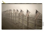 Farm With Fence And American Flags Carry-all Pouch