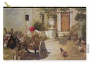 Farm Yard Scene Carry-all Pouch by Henry Herbert La Thangue