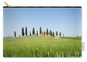 Farmhouse With Cypress Trees And Crops In Tuscany Carry-all Pouch