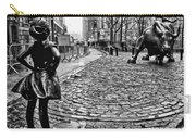 Fearless Girl And Wall Street Bull Statues 3 Bw Carry-all Pouch