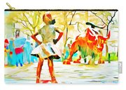 Fearless Girl And Wall Street Bull Statues 6 Watercolor Carry-all Pouch