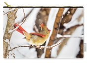 Female Northern Cardinal In The Snow Carry-all Pouch