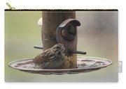 Female Sparrow On Birdfeeder Carry-all Pouch