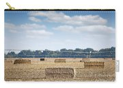 Field With Straw Bale And Center Pivot Sprinkler System Agricult Carry-all Pouch