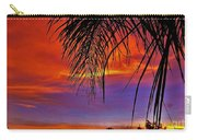 Fiery Sunset With Palm Tree Carry-all Pouch