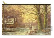 Figures On A Path Before A Village In Winter Carry-all Pouch by Johannes Hermann Barend Koekkoek