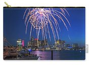Fireworks Over The Boston Skyline Boston Harbor Illumination Streaming Down Carry-all Pouch