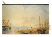 Fisherfolk On The Shore Near Dover At Sunset Carry-all Pouch