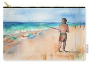 Fishing At The Beach Watercolor Carry-all Pouch