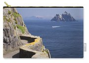 Fishing Boat Approaching Skellig Michael, County Kerry, In Spring Sunshine, Ireland Carry-all Pouch