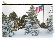 Flag And Snowy Pines Carry-all Pouch