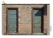 Flagstone Wall And Two Green Doors Carry-all Pouch