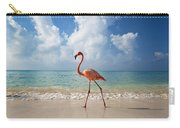 Flamingo Walking Along Beach Carry-all Pouch