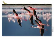 Flamingos In Flight-signed Carry-all Pouch