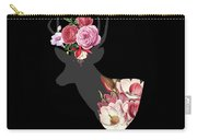 Floral Deer On Black Carry-all Pouch