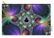 Floral Fractal Art Jewel Tones Vertical Carry-all Pouch
