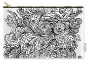 Black And White Floral Indian Pattern Carry-all Pouch