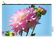 Floral Landscape Art Print Pink Dahlia Flower Blue Sky Canvas Baslee Troutman Carry-all Pouch