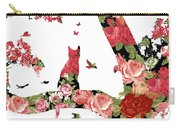 Floral Minimalist Style Cat, Tree And Birds Carry-all Pouch
