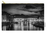 Florence Ponte Vecchio At Sunset Monochrome Carry-all Pouch