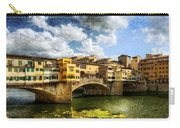Florence -  Ponte Vecchio From The Northwestern Bank - Vintage Carry-all Pouch