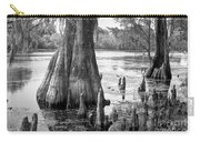 Florida Cypress, Hillsborough River, Fl In Black And White Carry-all Pouch