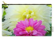 Flower Art Print White Pink Dahlia Floral Canvas Baslee Troutman Carry-all Pouch