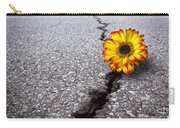 Flower In Asphalt Carry-all Pouch by Carlos Caetano
