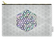 Flower Of Life Abalone Shell On Pearl Carry-all Pouch