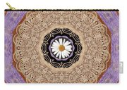 Flower With Wood Embroidery Carry-all Pouch
