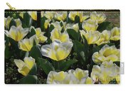 Flowering Yellow And White Tulips In A Spring Garden  Carry-all Pouch