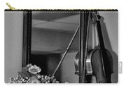 Flowers And Violin In Black And White Carry-all Pouch