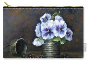 Flowers,pansies Still Life Carry-all Pouch by Katalin Luczay