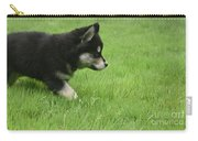 Fluffy Alusky Puppy Stalking In Green Grass Carry-all Pouch