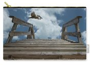 Fly By At The Beach - Brown Pelican And Rustic Stairs Carry-all Pouch